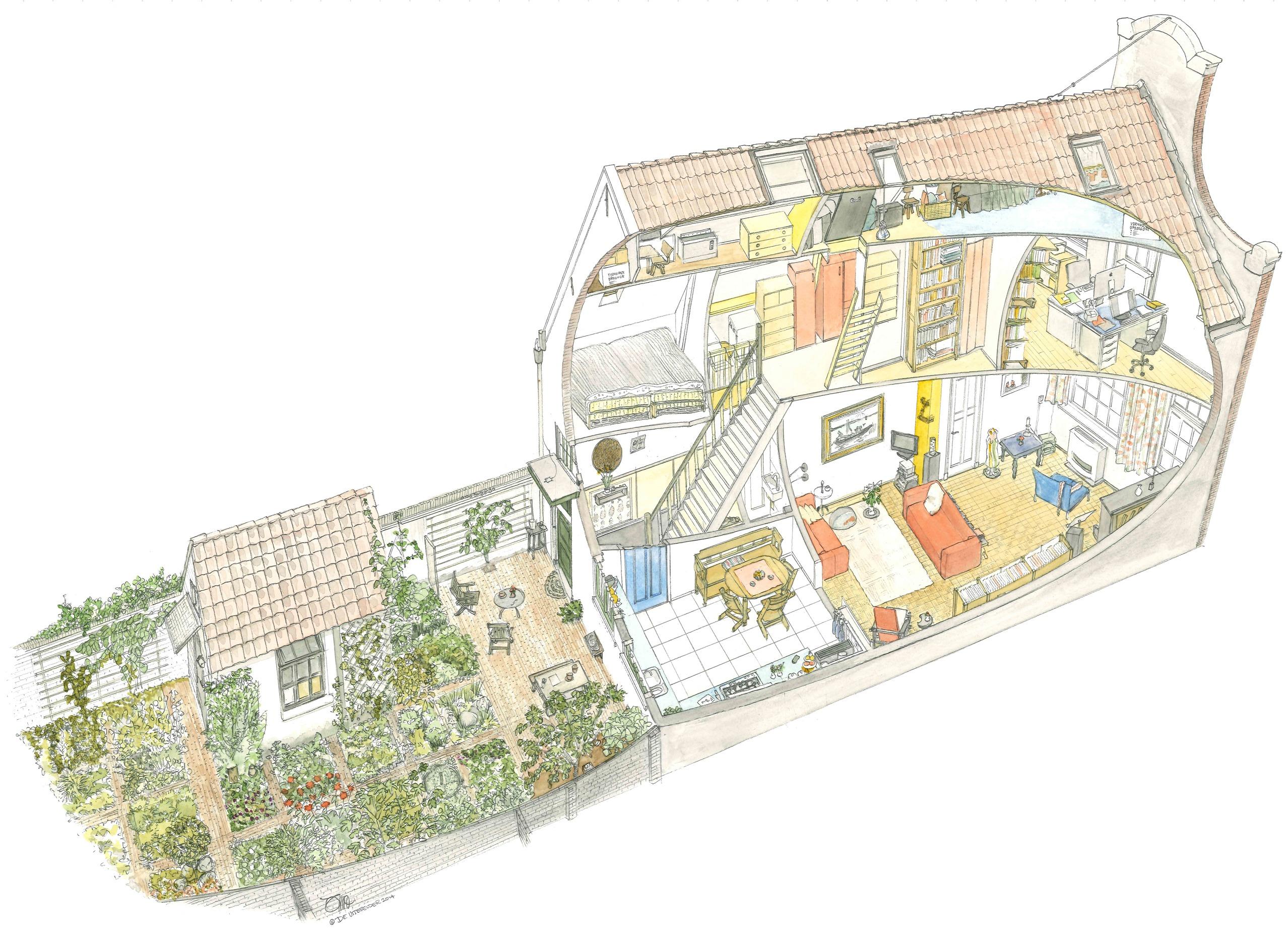 Amersfoort - Huis aan de muur | Huis doorsnede cadeau