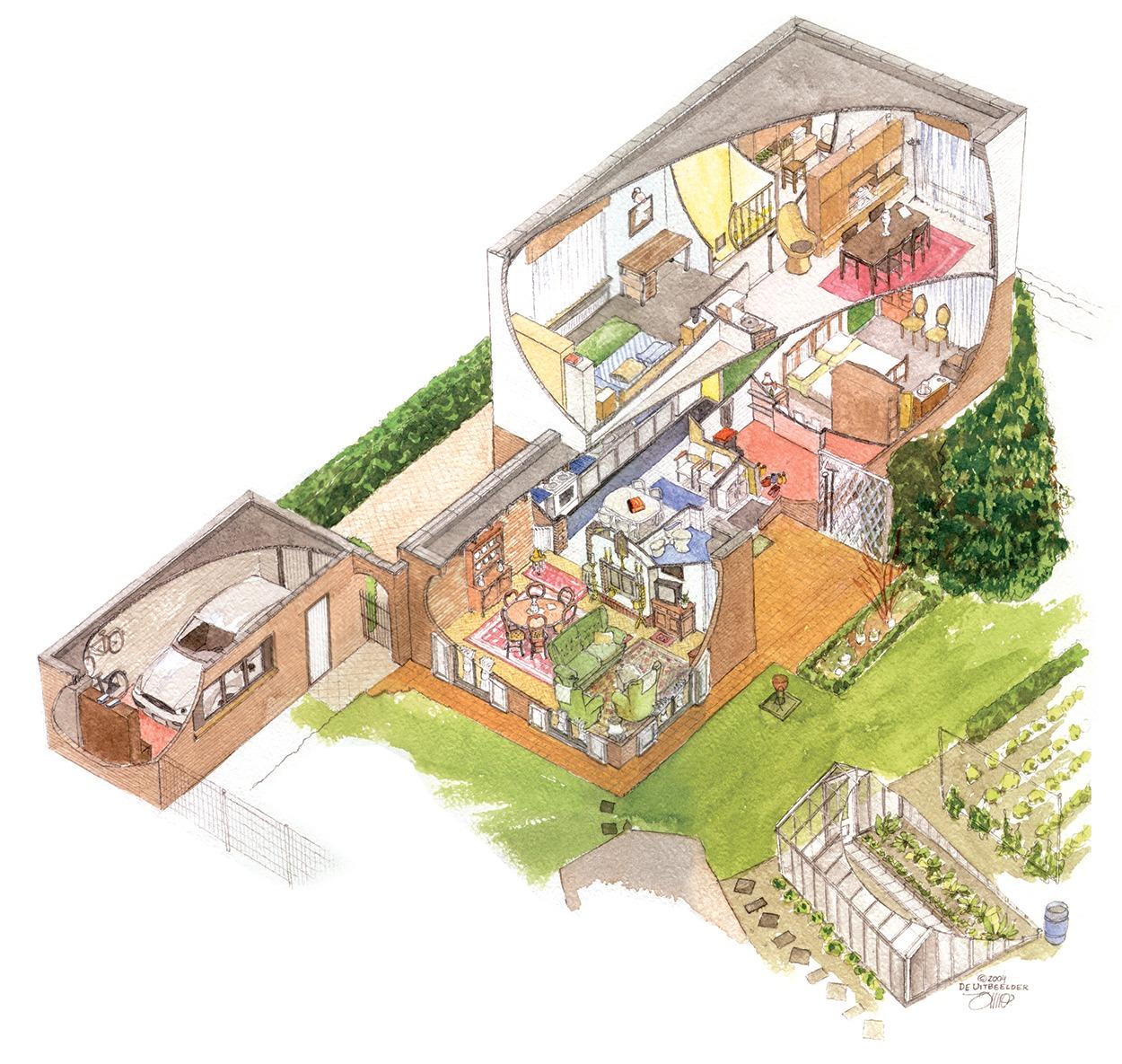 België - Huis aan de muur | Doorsnede huis cadeau